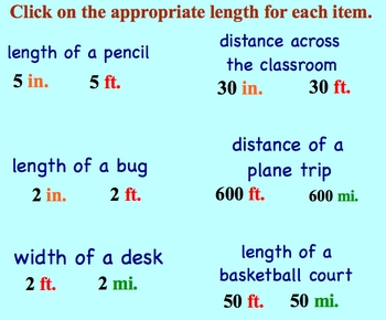 Measurement Estimation Metric System and US Pack Smartboard Lessons