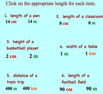 Measurement Estimation Metric System  km, m, and cm Smartboard Lesson