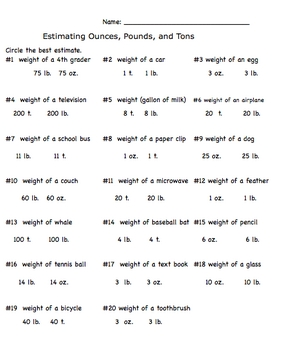 Measurement Estimation Ounces, Pounds, and Tons Worksheet by ...