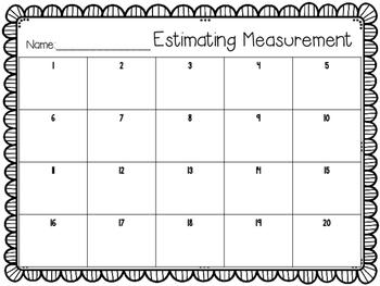 Measurement Estimation Task Cards