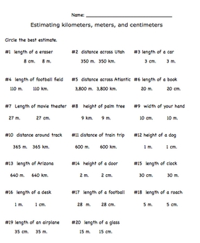 Measurement Estimation US Customary and Metric System Worksheet Pack
