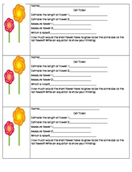 Measurement Exit Ticket