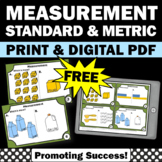 FREE U.S.Standard & Metric Measurement Task Cards 4th Grade Math Review Games