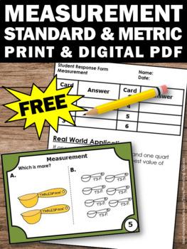 FREE Measurement Task Cards Standard & Metric TpT Digital Activities Printables