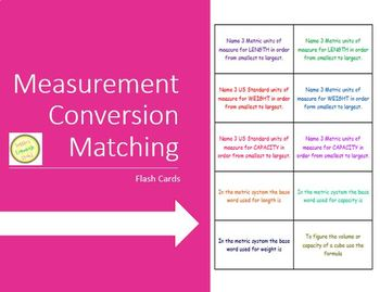 Measurement Flash Cards - English and Metric
