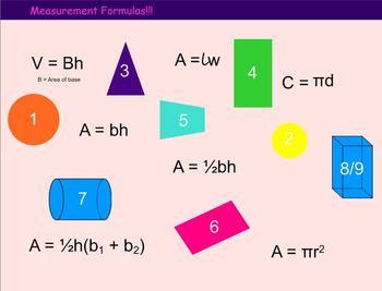 Measurement Formulas for 2d and 3d Shapes - Smartboard