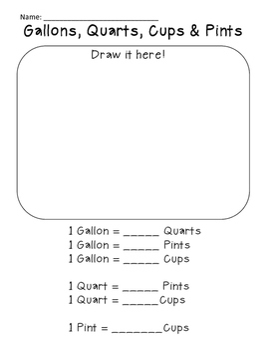 Measurement - Gallons, Quarts, Pints and Cups