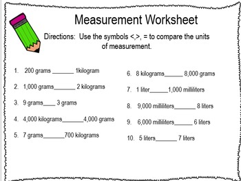 Measurement Game and worksheets