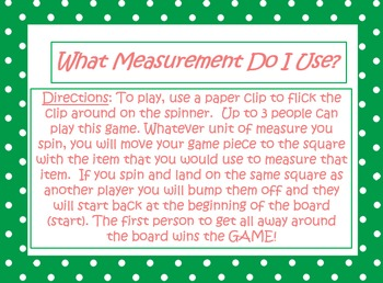 Measurement Game and worksheets
