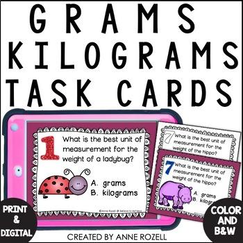 Measurement - Grams or Kilograms (24 Task cards)