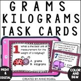 Measurement - Grams or Kilograms Task Cards