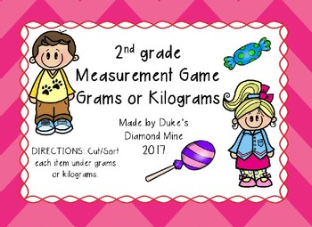 Measurement Grams or Kilograms Game Sort