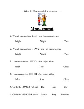 Measurement - Height, Width, Weight, Time, Temperature
