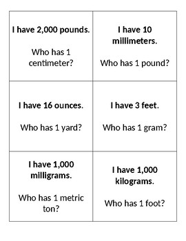 Measurement I Have/Who Has