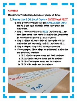 Measurement Number Line: Inches Feet Yards - A FUN Hands-On Activity
