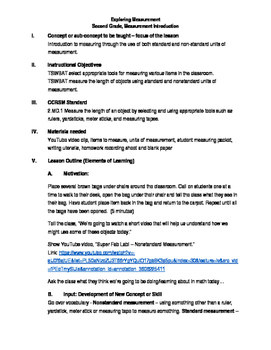 Measurement Intro Lesson Plan