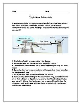 Measurement: Introduction to the Triple Beam Balance Lab