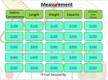 Measurement Jeopardy Review