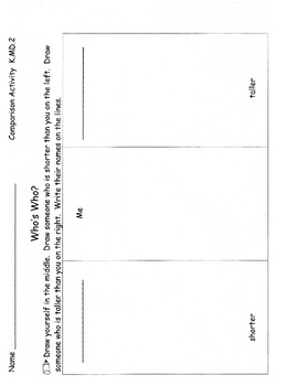 Measurement Kindergarten Common Core Compare Height Length Weight 11 pgs K.MD.2