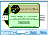 Length Measurement Practice Game : Metric Centimeters and