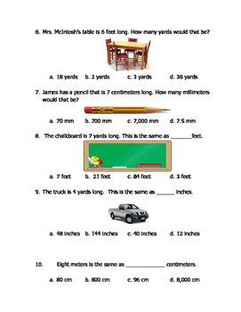 Math VA SOL 4th Measurement Length (Customary)