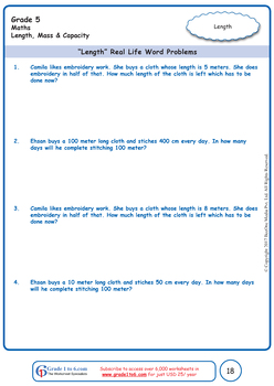 Measurement: Length, Mass and Capacity Grade 5 Maths Workbook