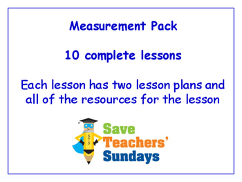 Measurement Lessons Bundle / Pack (10 Lessons for 1st to 2nd grade)