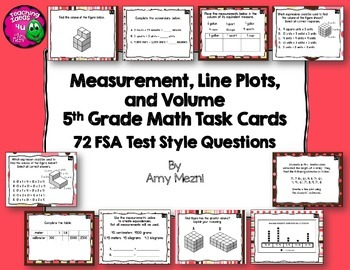 Measurement, Line Plots, & Volume 72 Task Cards 5th Grade FSA Style Questions
