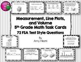 Measurement, Line Plots, & Volume 72 Task Cards 5th Grade INK SAVER FSA