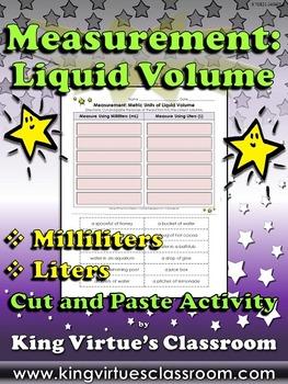 Measurement: Liquid Volume Cut and Paste Activity - Milliliters and Liters