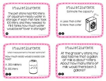 Measurement: Liquid Volume Task Cards for 3rd Grade