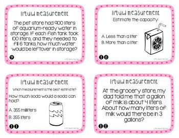 Measurement: Liquid Volume Task Cards | Liquid Volume Math Center