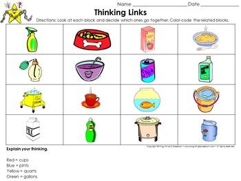 Measurement: Liquid Volume Thinking Links Activity #2 Gallons Quarts Pints Cups