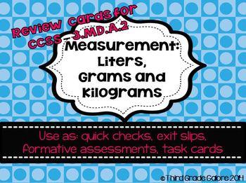 Measurement: Liters, Grams and Kilograms Review Cards
