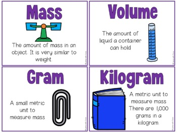 Measurement: Mass & Volume Vocabulary Cards and Word Work Activities