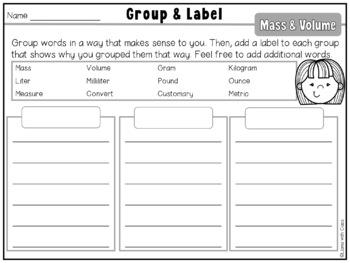 Mass & Volume Measurement Vocabulary Cards & Word Work Activities