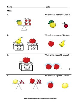 Measurement Mass Worksheet Grades 2 - 3