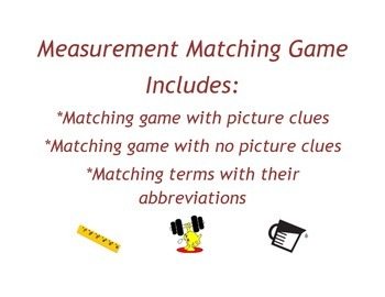 Measurement Matching and Unit Conversions Game (Length, Weight, Capacity)