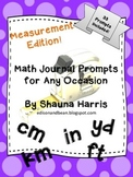 Measurement Math Journal Prompts