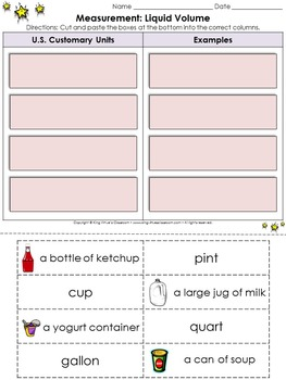 Measurement: Liquid Volume Cut and Paste Activity - Cup Pint Quart Gallon