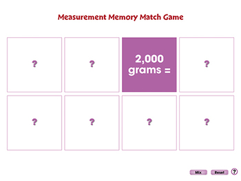 Measurement: Memory Match Game - NOTEBOOK Gr. PK-2