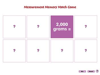 Measurement: Memory Match Game - PC Gr. PK-2