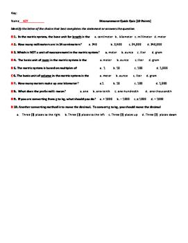Measurement - Metric Conversion Quick Quiz