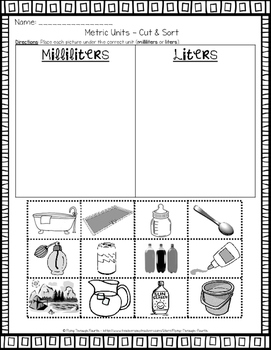 Measurement {Metric Units Practice} Cut & Sort (MASS & VOLUME)