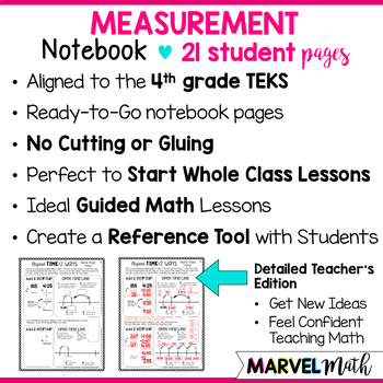Measurement Notebook 4th Grade TEKS by Marvel Math