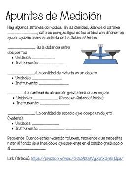 Measurement Notes, Mass, Weight, Vol (SPANISH, ENGLISH, SPED) PREZI, NOTES SHEET