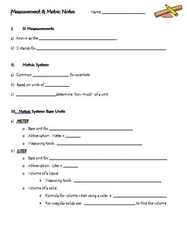 Measurement Notes and PowerPoint Presentation (Metric System)