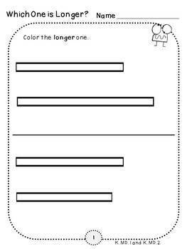 Measurement Pack 1-Longer or Shorter (Kindergarten-K.MD.1 and K.MD.2)