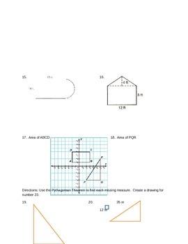 Measurement = Perimeter, Area, Circumference, and Pythagorean Theorem