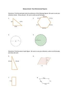 Measurement = Perimeter, Area, Circumference, and Pythagor